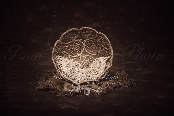 Twine Circles Bowl With Dark Background 2 - Beautiful Digital background backdrop Newborn Photography Prop download - Psd file with layer