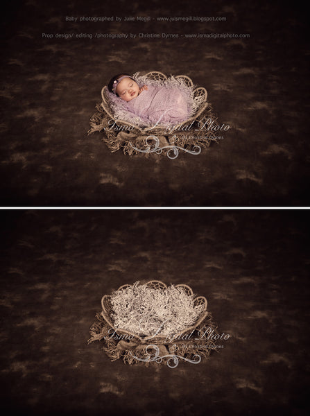 Twine Circles Bowl With Dark Background 3 - Beautiful Digital background backdrop Newborn Photography Prop download - Psd file with layer