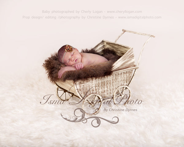 Vintage Stroller With Brown Furry Blanket - Beautiful Digital background Newborn Photography Props download