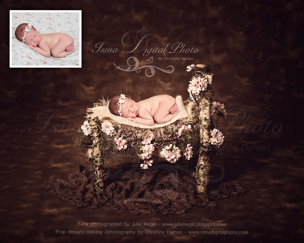 Wooden Bed With Dark Background  - Beautiful Digital background backdrops Newborn Photography Props download