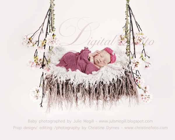 Swing cherry blossom with Fur - Beautiful Digital background Newborn Photography Prop download