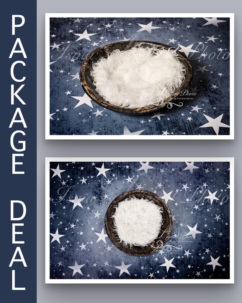 Package deal, Handmade Wooden Bowl With Star Background  - Beautiful Digital Newborn Photography Props download - psd with Layers