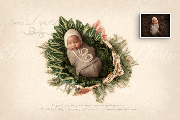 Newborn felted green wool leaf 1 - Digital backdrop /background - psd with layers