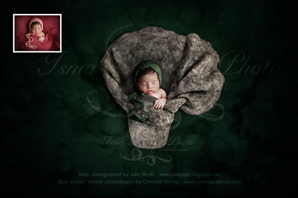 Newborn felted wool bed 1 - Digital backdrop /background - psd with layers