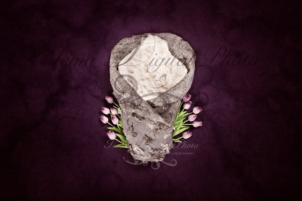 Newborn felted wool bed 4 - Digital backdrop /background - psd with layers