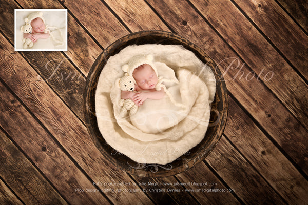 Newborn felted wool bed 8 - Digital backdrop /background - psd with layers