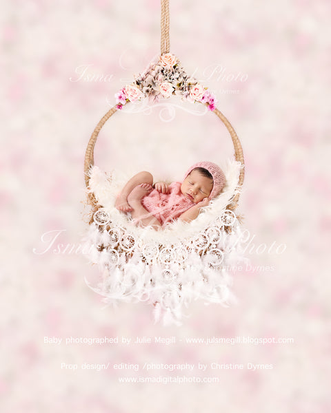Newborn hanging circle design with flower and feather - Digital photography backdrop /props for newborn photography - psd with layers