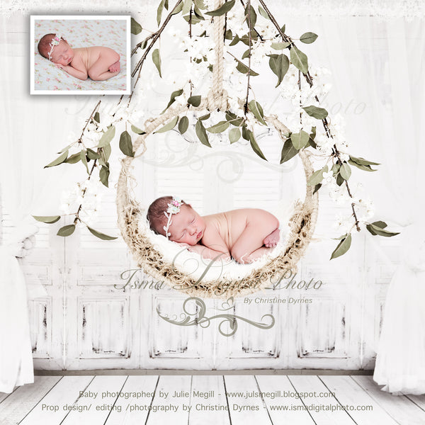 Newborn Hanging Circle Design - Digital backdrop /background - psd with layers