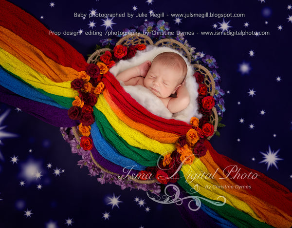Rainbow Baby Basket And Stars - Digital background backdrop Newborn Photography Prop download - psd file with Layers