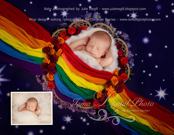 Rainbow baby basket and stars - Digital backdrop /background - psd with layers