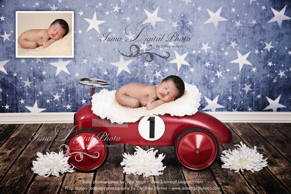 Red toy car with star background and flower 2 - Digital backdrop /background - psd with layers