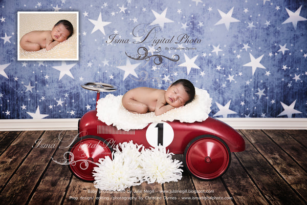 Red toy car with star background and flower - Digital backdrop /background - psd with layers