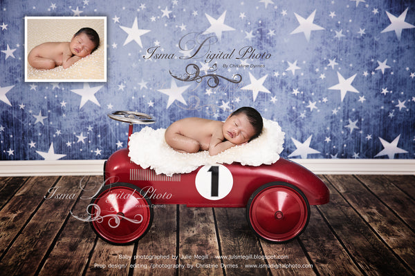 Red toy car with star background - Digital backdrop /background - psd with layers