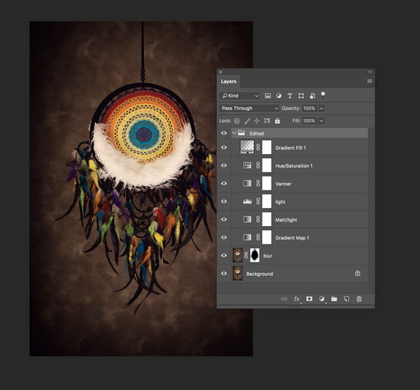 Colorful Dream Catcher Dar kBackground - Beautiful Digital backdrop Newborn Photography Prop download - psd with Layers