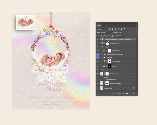 Rainbow newborn hanging circle design - Digital backdrop /background - psd with layers