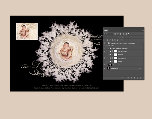 White feather nest design - Digital backdrop /background - psd with layers