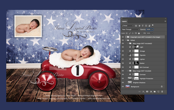Package deal, 4 images - Red toy car with star background - Digital backdrop - psd with layers