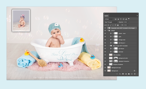 Baby Bathtub - Digital backdrop /background - psd with layers