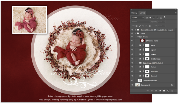 Newborn Christmas nest - Digital backdrop /background - psd with layers