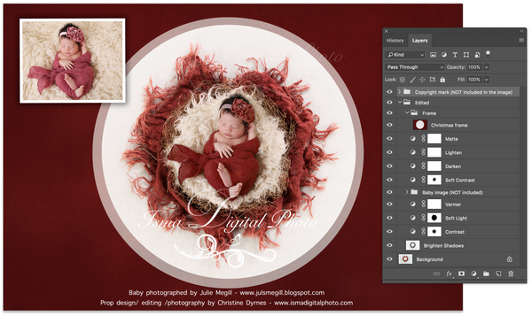 Newborn Christmas nest 6 - Digital backdrop /background - psd with layers