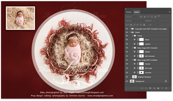 Newborn Christmas nest 4 - Digital backdrop /background - psd with layers