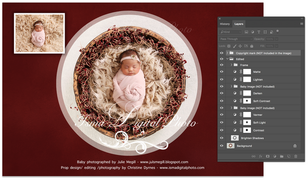 Newborn Christmas nest 2 - Digital backdrop /background - psd with layers