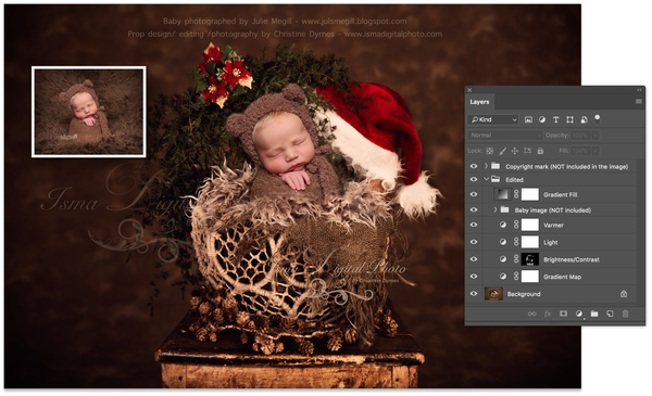 Christmas wooden chair and twine circles bowl - Newborn digital backdrop - psd with layers