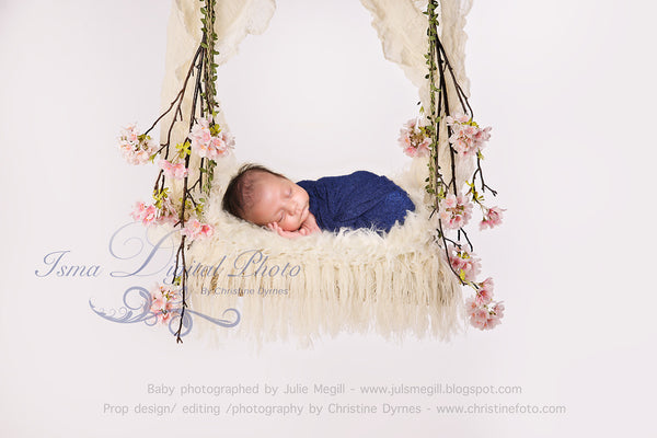 Swing cherry blossom with  Veil And Fur - Beautiful Digital background Newborn Photography Prop download