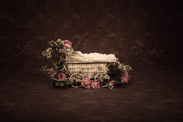 Vintage Stroller With Dark Background And Flower - Beautiful Digital background Newborn Photography Prop download - psd with Layers