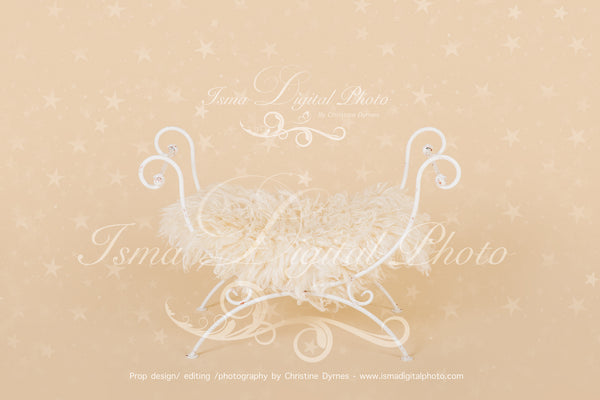 White single Iron bed chair with stars - Digital backdrop - psd with layers