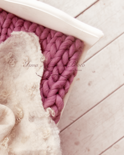 White bed with wool blanket - Digital backdrop /background - JPG