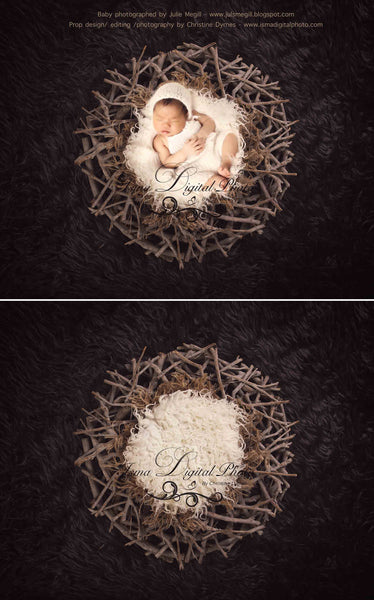Wood nest - Digital backdrop /background - psd with layers