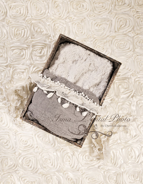 Wooden Box With Flowers Carpet  - Beautiful Digital Newborn Photography Props download