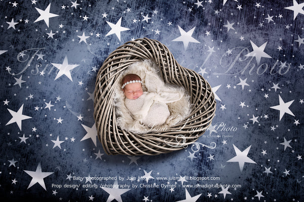 Wooden heart with star background - Newborn digital backdrop /background - psd with layers