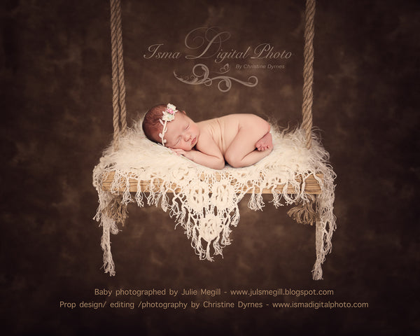 Wooden Swing With Dark Background - Beautiful Digital Newborn Photography Prop download - psd with Layers