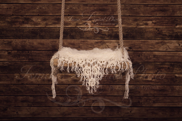Wooden swing with wooden background - Digital backdrop /background - psd with layers