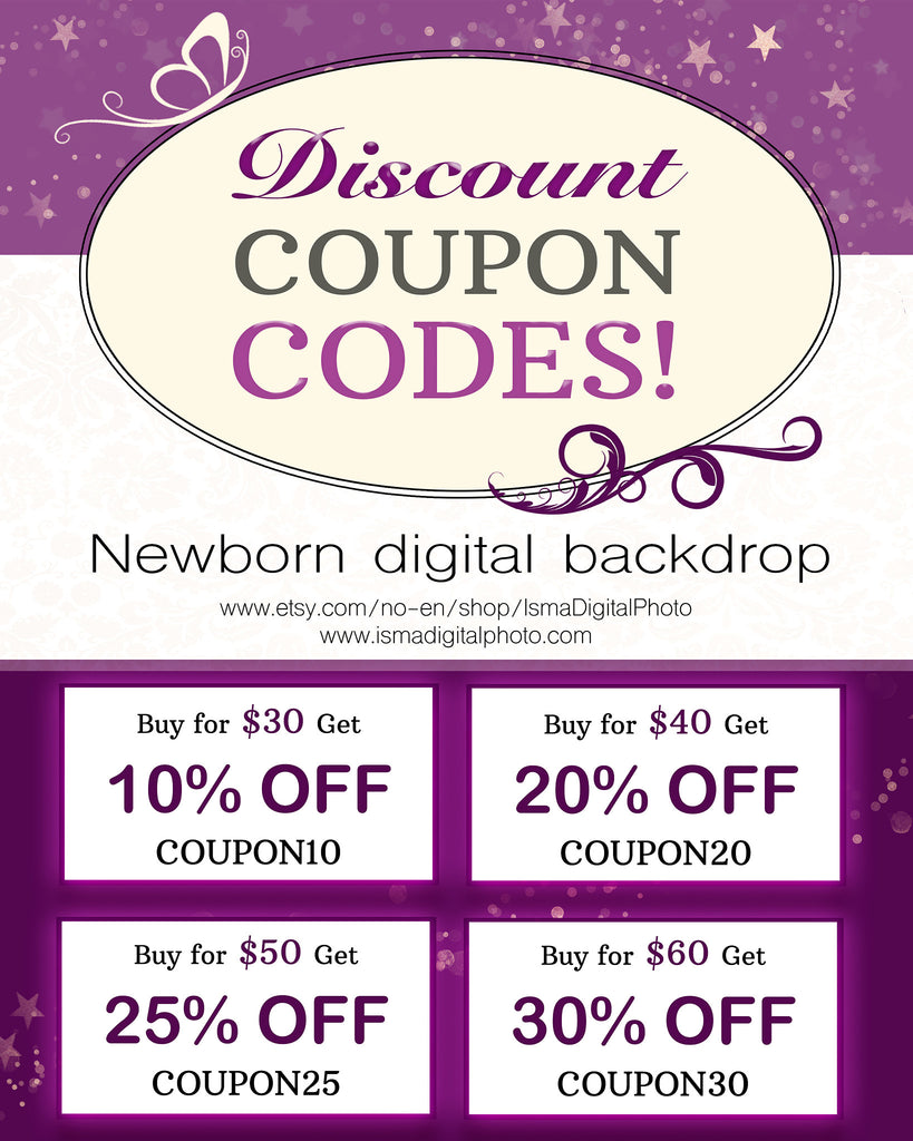 Discount Coupon Codes - Newborn digital backdrop - Sale, free coupon codes