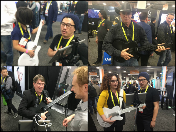 People demoing the MI Guitar at CES