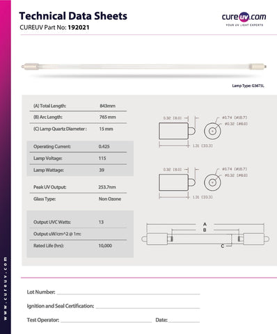 Technical Data Sheet for Glasco UV 2460 Replacement UV-C Bulb