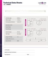 technical data sheet for CureUV brand replacement for Aquanetics MUV-8 UV Light Bulb
