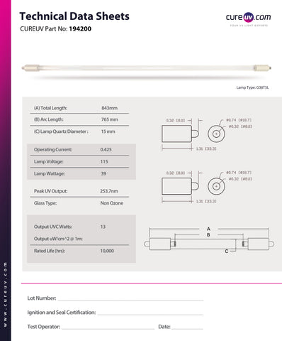 Technical Data Sheet for Philips 292672 UV Light Bulb