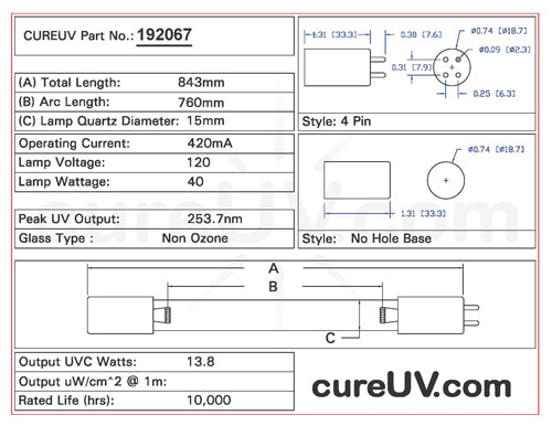 Drawing of Atlantic Ultraviolet 05-1382-R UVC Bulb - item # 192067