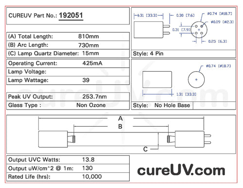 Drawing of BioLite UVLB-1X UVC Bulb - item # 192051