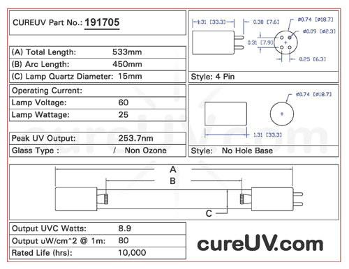 Drawing of Double Star DS4P-533 UVC Bulb - item # 191705
