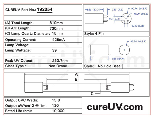 Drawing of Glasco UV GS4305L UVC Bulb - item # 192054