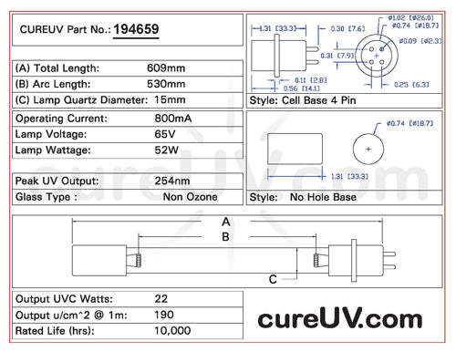 Drawing of Steril-Aire 21000303 UVC Bulb - item # 194659