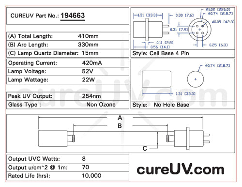 Drawing of Steril-Aire 22000300 UVC Bulb - item # 194663