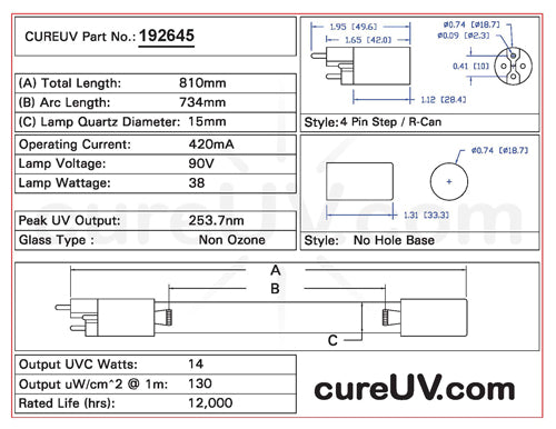 Drawing of Sterilight R-Can S810RL UVC Bulb - item # 192645