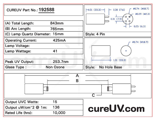 Drawing of Sterilight R-Can S8RL UVC Bulb - item # 192588