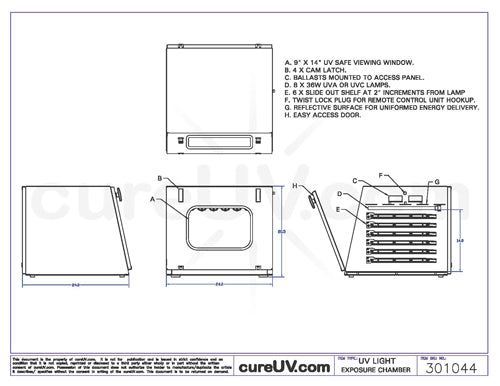 Drawing of UV Light Exposure Chamber - item # 301044